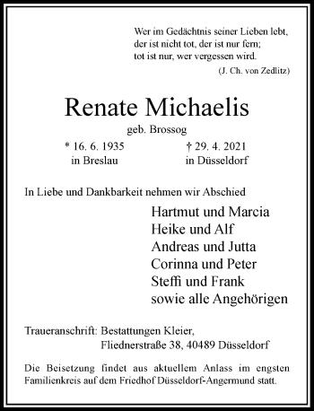 Traueranzeige von Renate Michaelis von Rheinische Post