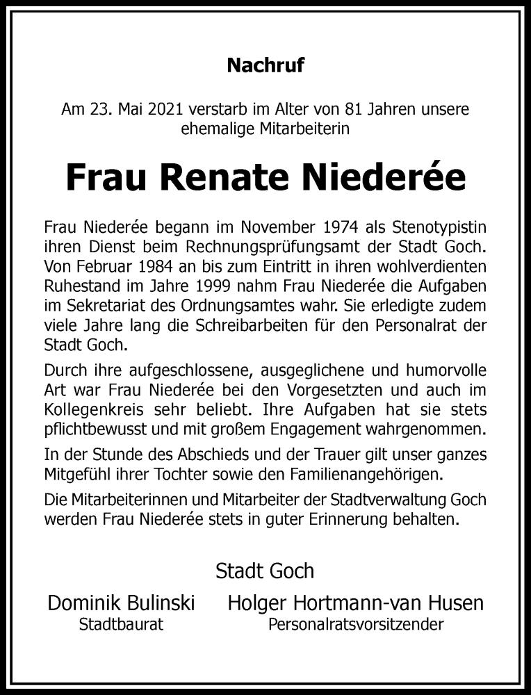 Traueranzeige für Renate Niederee vom 28.05.2021 aus Rheinische Post