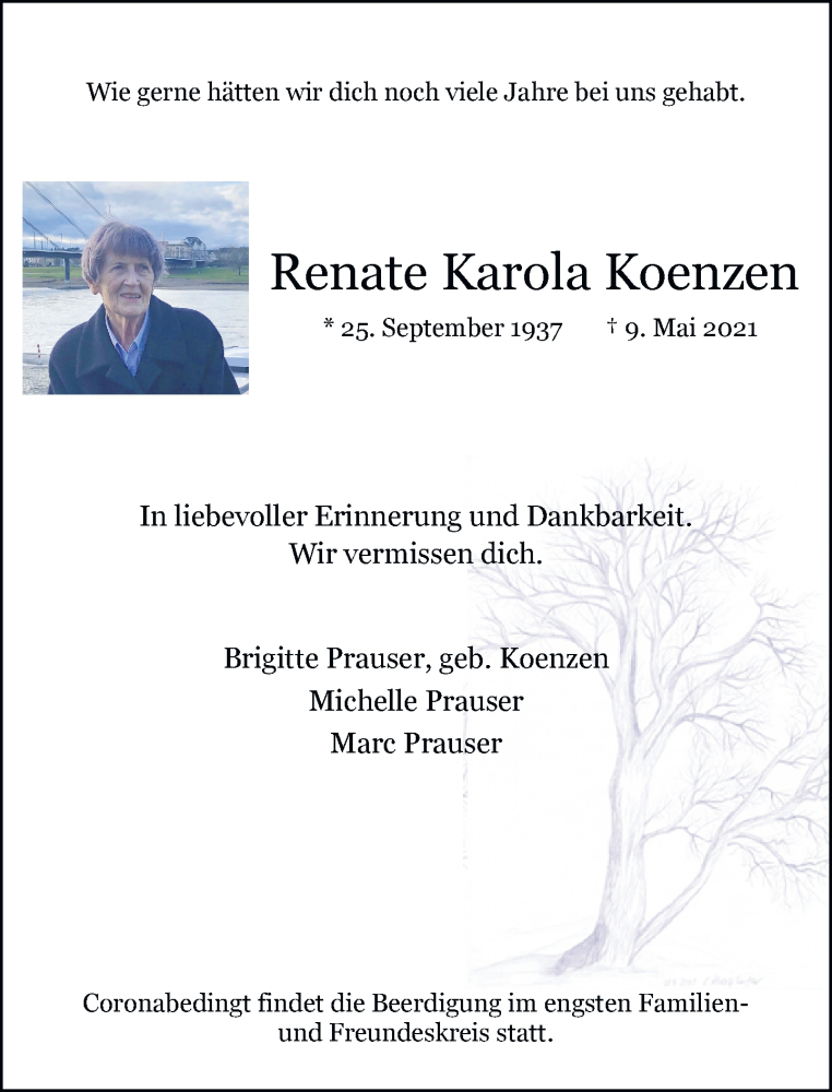 Traueranzeige für Renate Karola Koenzen vom 15.05.2021 aus Rheinische Post