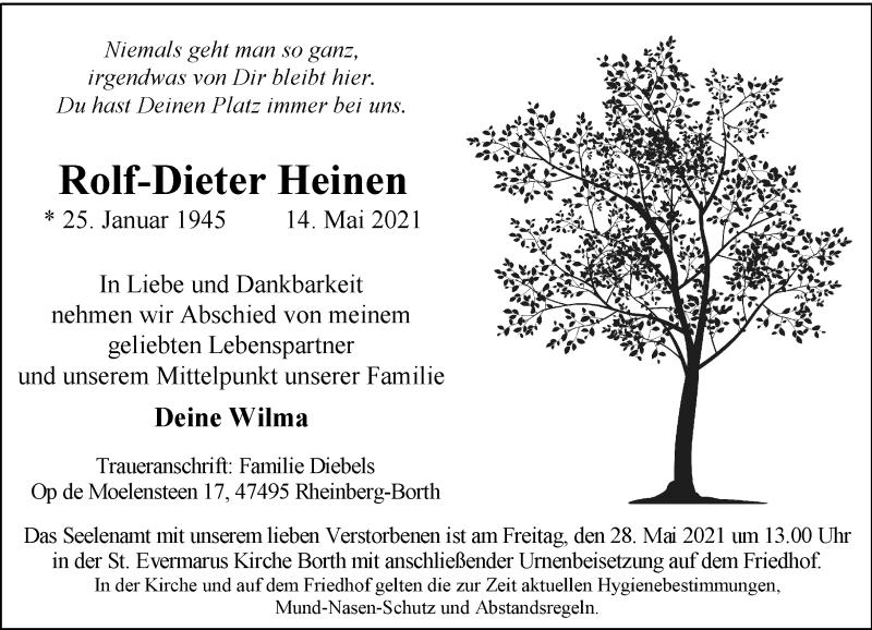 Traueranzeige für Rolf-Dieter Heinen vom 17.05.2021 aus Rheinische Post