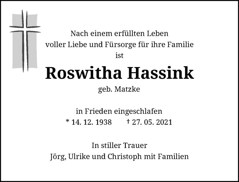 Traueranzeige für Roswitha Hassink vom 29.05.2021 aus Rheinische Post
