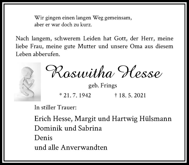 Traueranzeige für Roswitha Hesse vom 29.05.2021 aus Rheinische Post