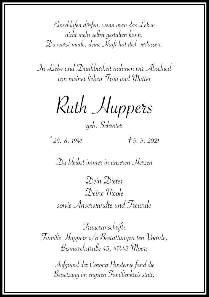 Traueranzeige für Ruth Huppers vom 15.05.2021 aus Rheinische Post