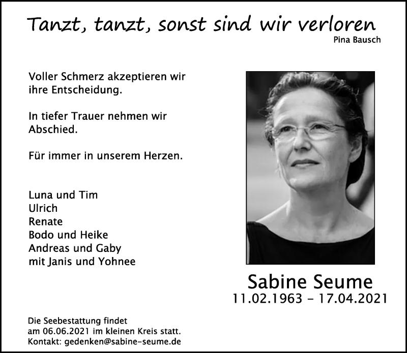 Traueranzeige für Sabine Seume vom 12.05.2021 aus Rheinische Post