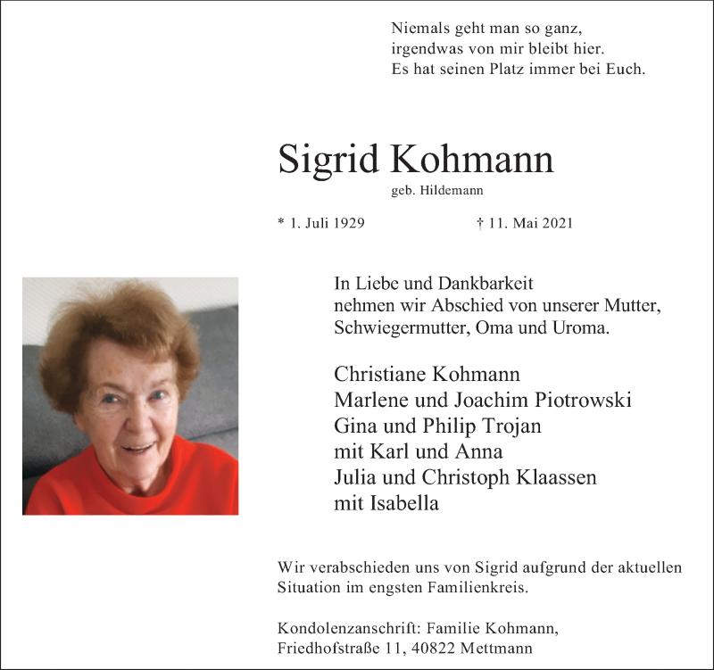 Traueranzeige für Sigrid Kohmann vom 15.05.2021 aus Rheinische Post