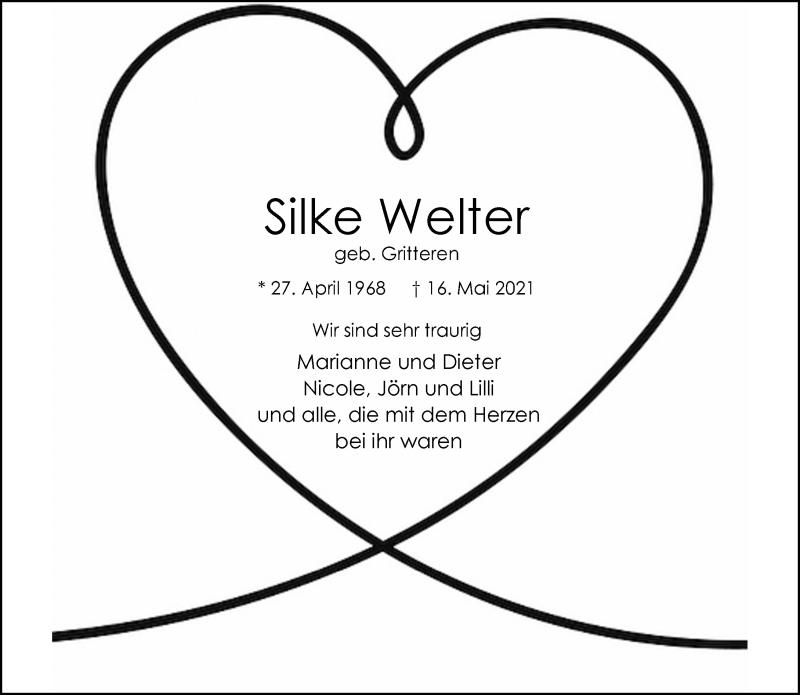 Traueranzeige für Silke Welter vom 29.05.2021 aus Rheinische Post