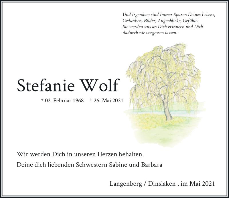 Traueranzeige für Stefanie Wolf vom 31.05.2021 aus Rheinische Post