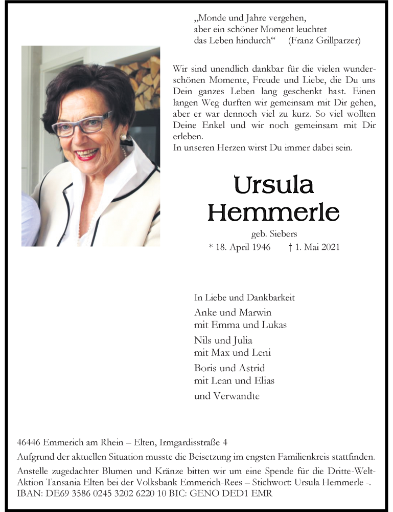 Traueranzeige für Ursula Hemmerle vom 12.05.2021 aus Rheinische Post