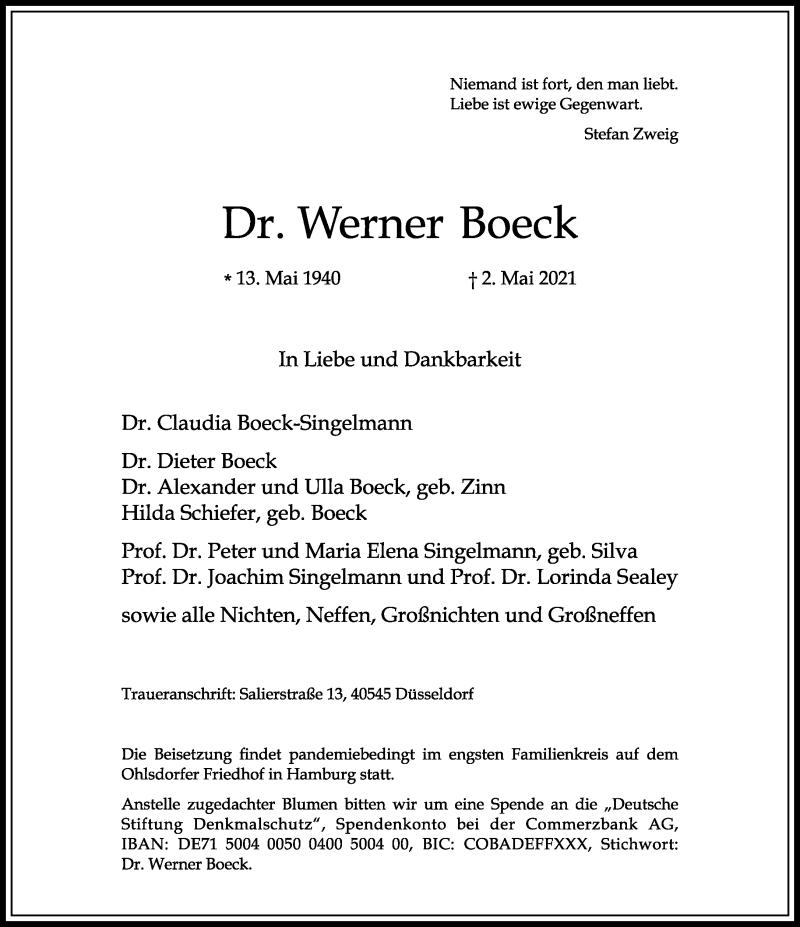 Traueranzeige für Werner Boeck vom 15.05.2021 aus Rheinische Post