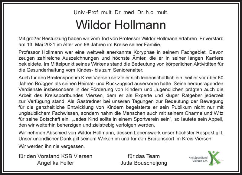 Traueranzeige für Wildor Hollmann vom 22.05.2021 aus Rheinische Post