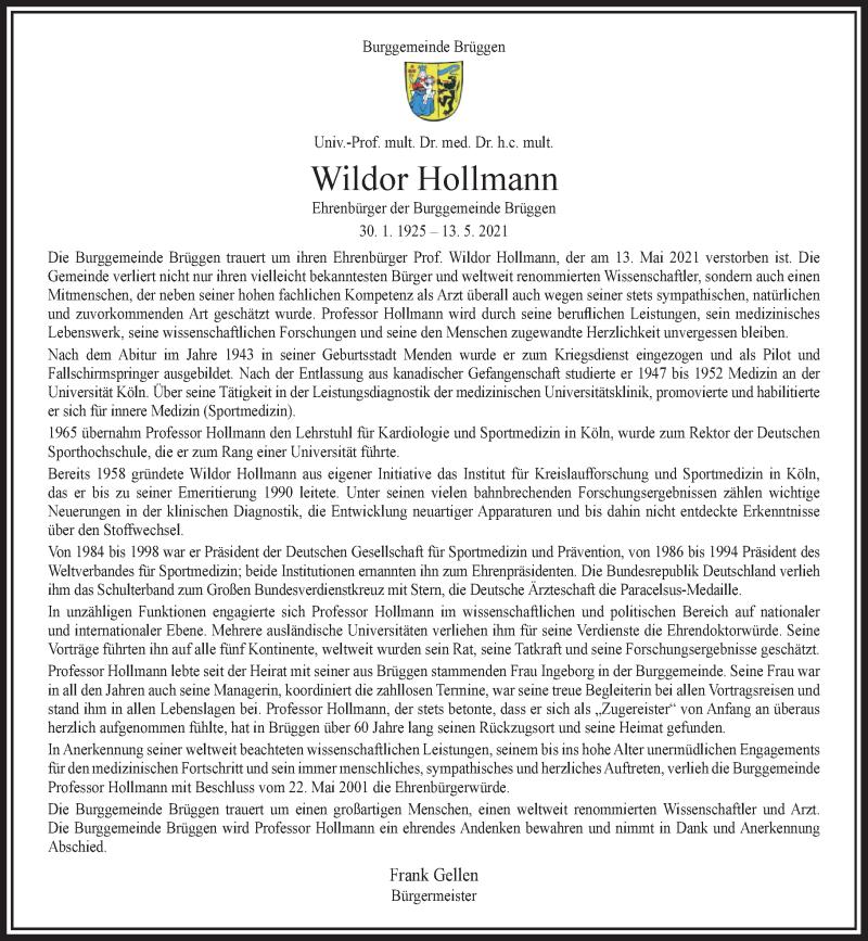 Traueranzeige für Wildor Hollmann vom 17.05.2021 aus Rheinische Post