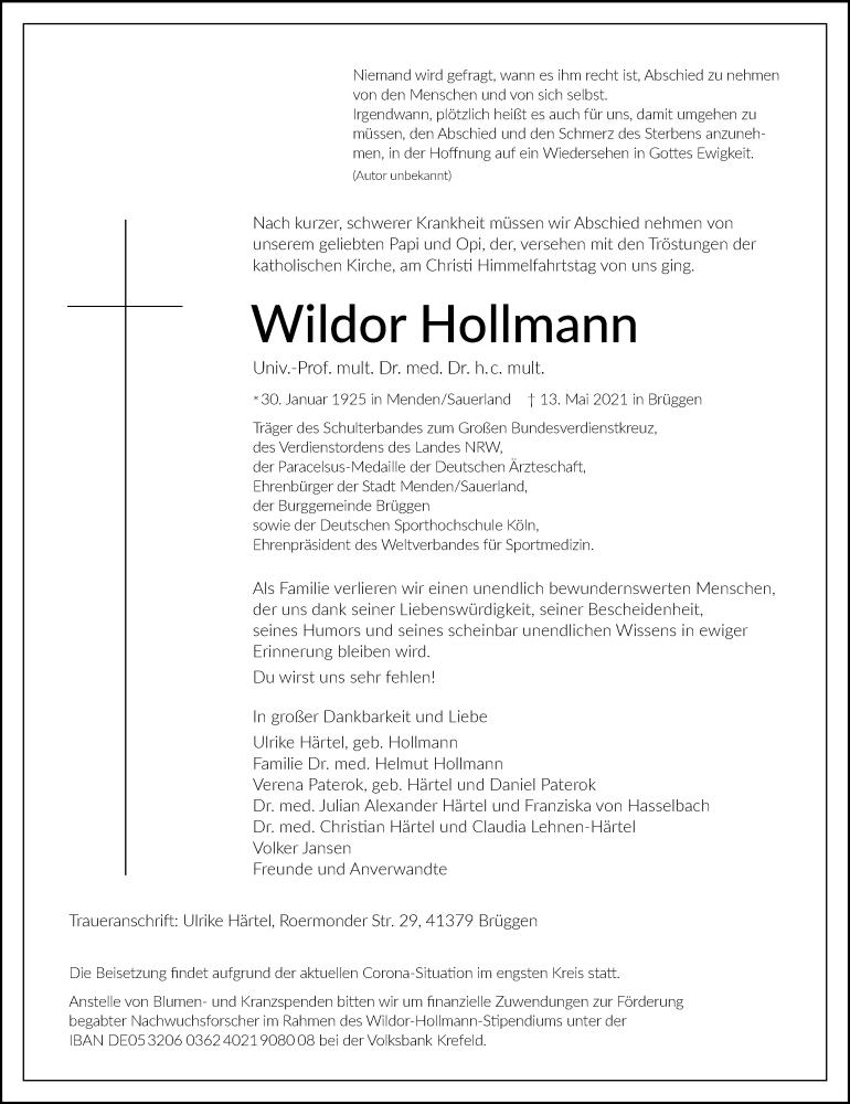 Traueranzeige für Wildor Hollmann vom 15.05.2021 aus Rheinische Post