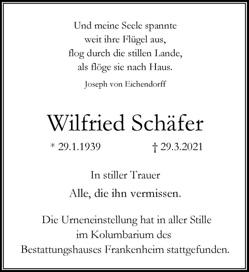 Traueranzeige für Wilfried Schäfer vom 15.05.2021 aus Rheinische Post