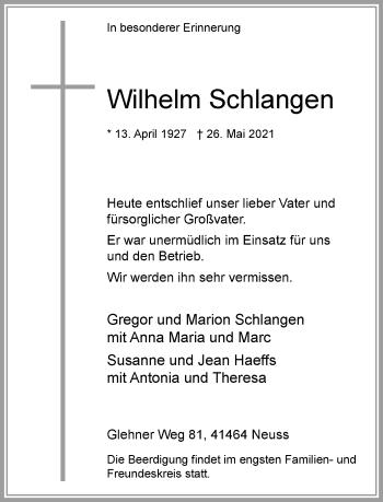 Traueranzeige von Wilhelm Schlangen von Rheinische Post