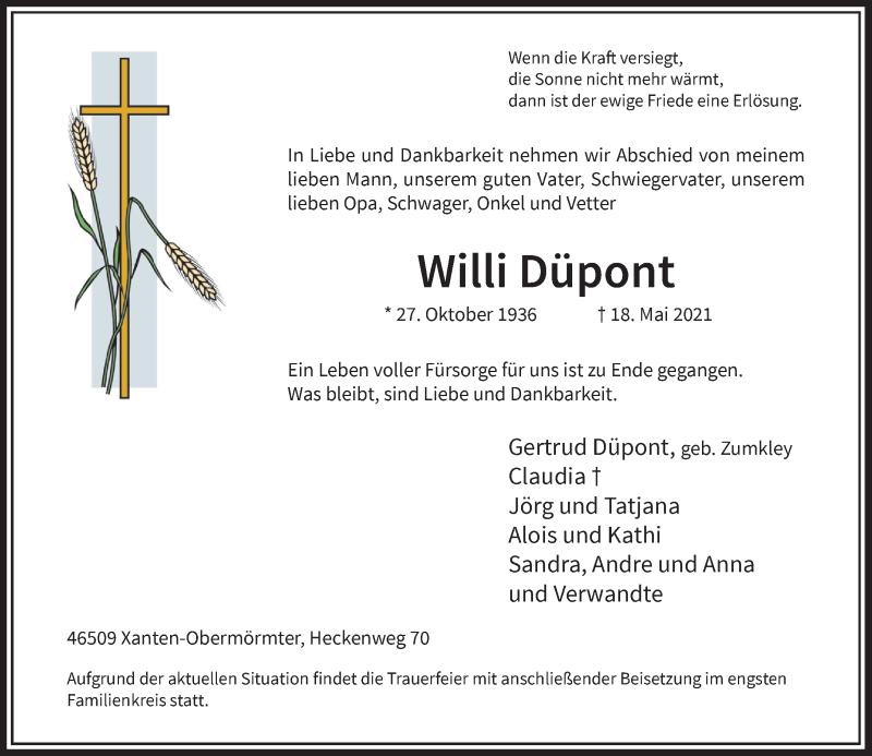 Traueranzeige für Willi Düpont vom 29.05.2021 aus Rheinische Post
