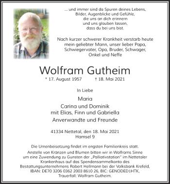 Traueranzeige von Wolfram Gutheim von Rheinische Post