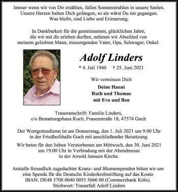 Traueranzeige von Adolf Linders von Rheinische Post