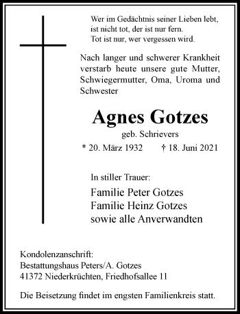 Traueranzeige von Agnes Gotzes von Rheinische Post
