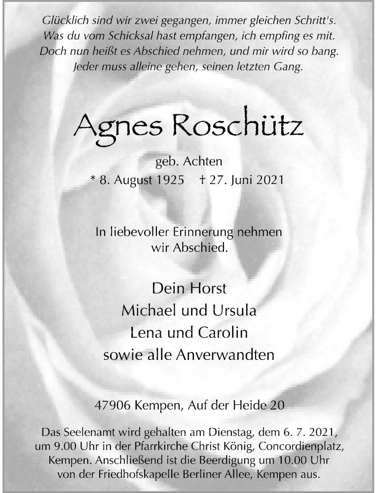 Traueranzeige für Agnes Roschütz vom 03.07.2021 aus Rheinische Post