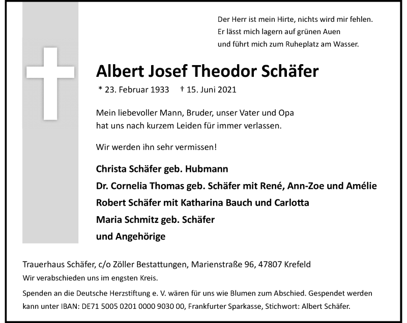 Traueranzeige für Albert Josef Theodor Schäfer vom 26.06.2021 aus Rheinische Post