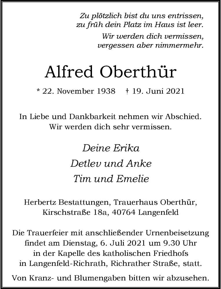 Traueranzeige für Alfred Oberthür vom 26.06.2021 aus Rheinische Post