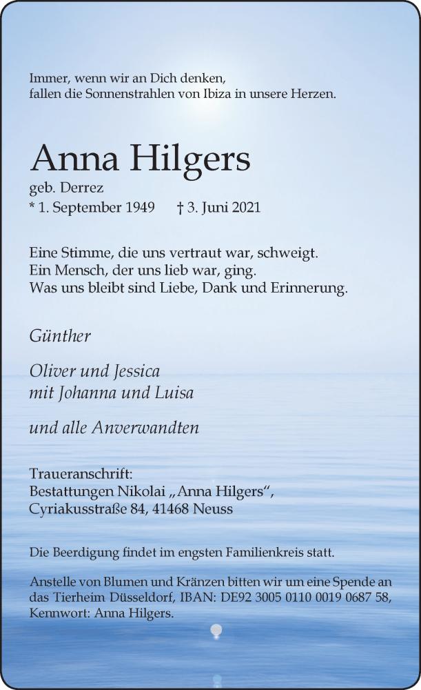 Traueranzeige für Anna Hilgers vom 05.06.2021 aus Rheinische Post
