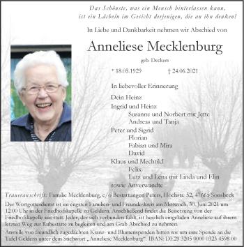 Traueranzeige von Anneliese Mecklenburg von Rheinische Post