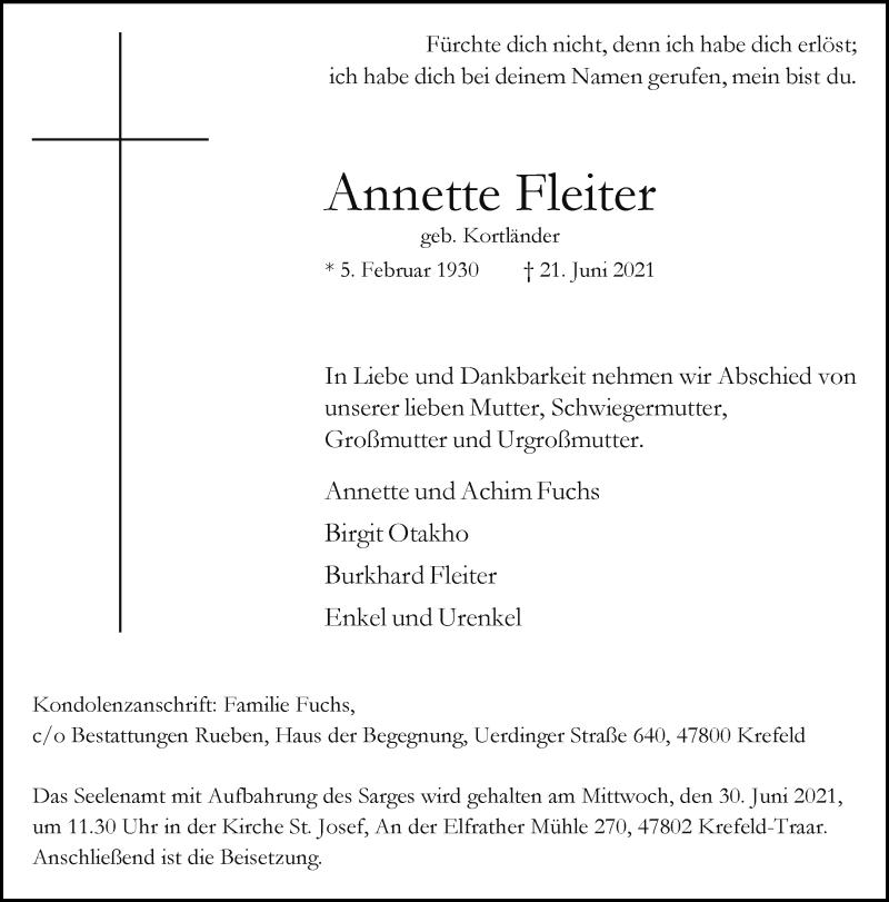 Traueranzeige für Annette Fleiter vom 26.06.2021 aus Rheinische Post