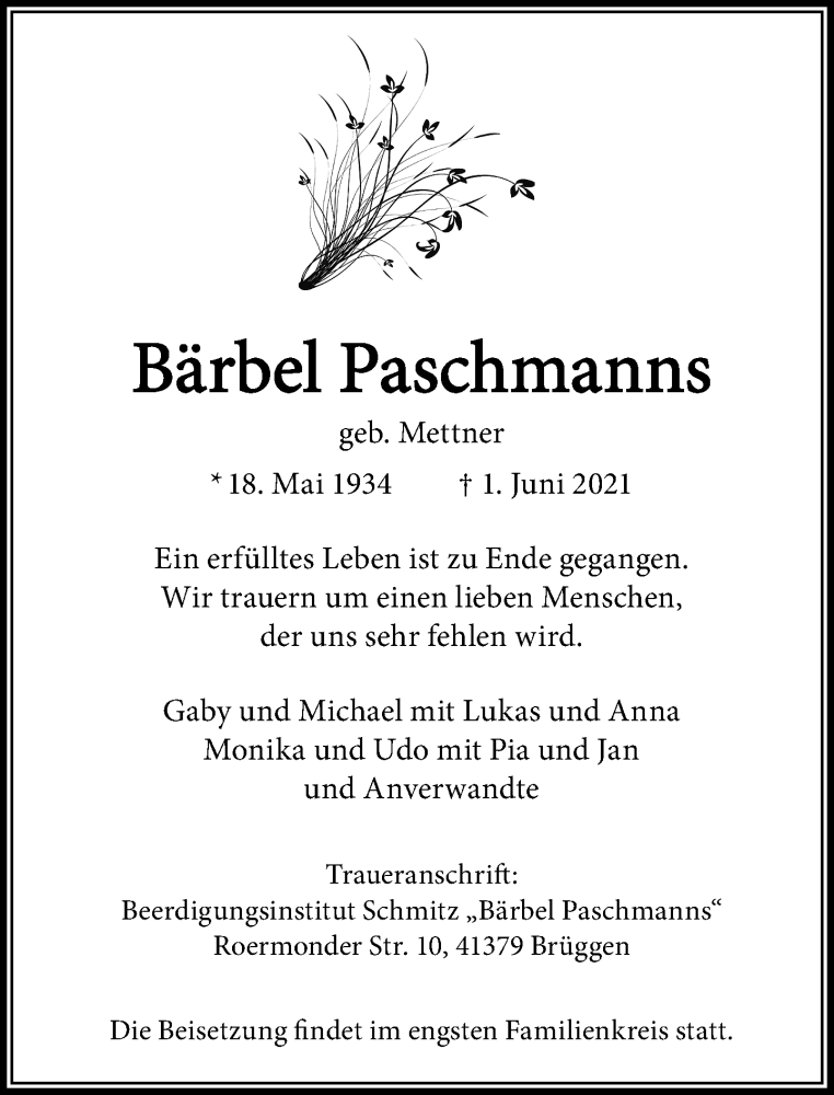 Traueranzeige für Bärbel Paschmanns vom 05.06.2021 aus Rheinische Post