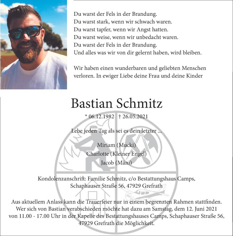 Traueranzeige für Bastian Schmitz vom 05.06.2021 aus Rheinische Post