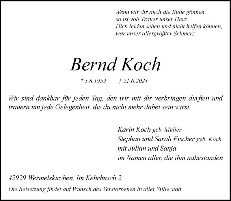 Traueranzeige für Bernd Koch vom 26.06.2021 aus Rheinische Post