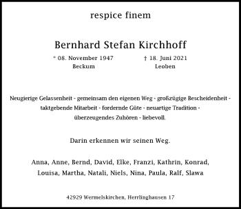 Traueranzeige von Bernhard Stefan Kirchhoff von Rheinische Post