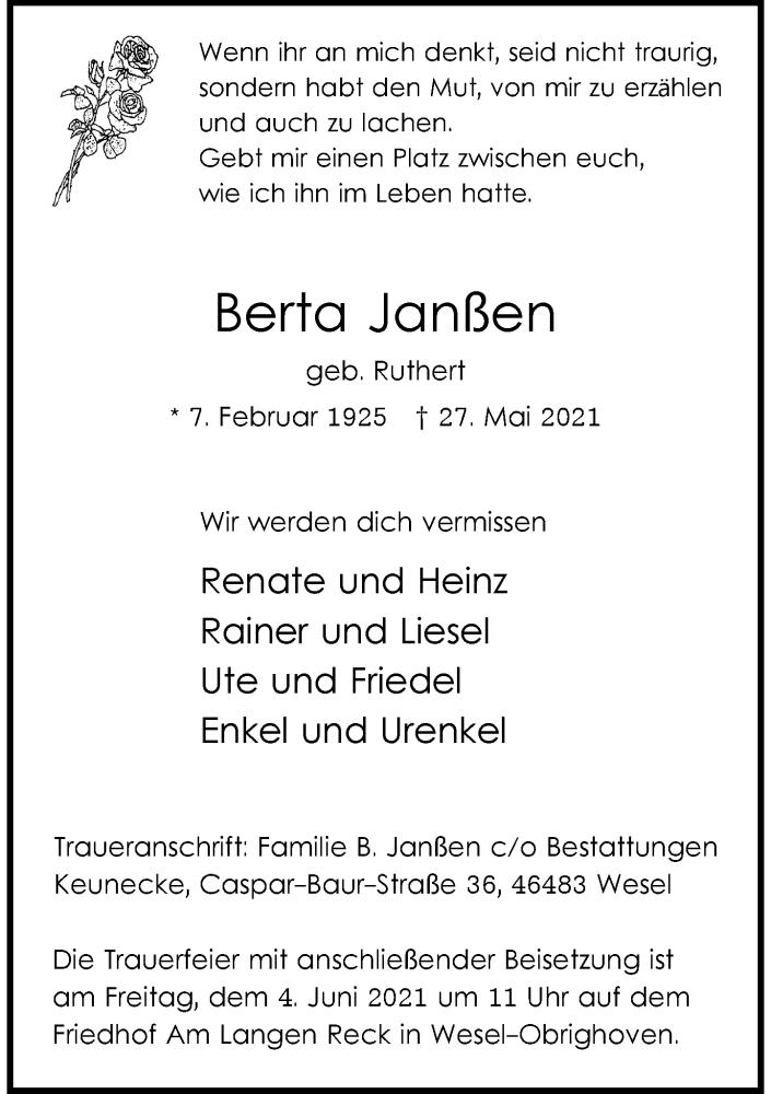 Traueranzeige für Berta Janßen vom 01.06.2021 aus Rheinische Post