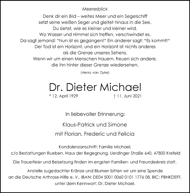 Traueranzeige für Dieter Michael vom 19.06.2021 aus Rheinische Post