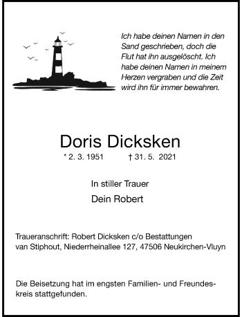 Traueranzeige von Doris Dicksken von Rheinische Post