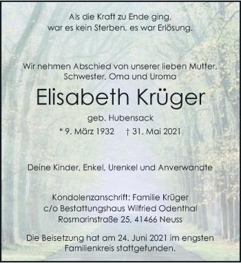 Traueranzeige von Elisabeth Krüger von Rheinische Post