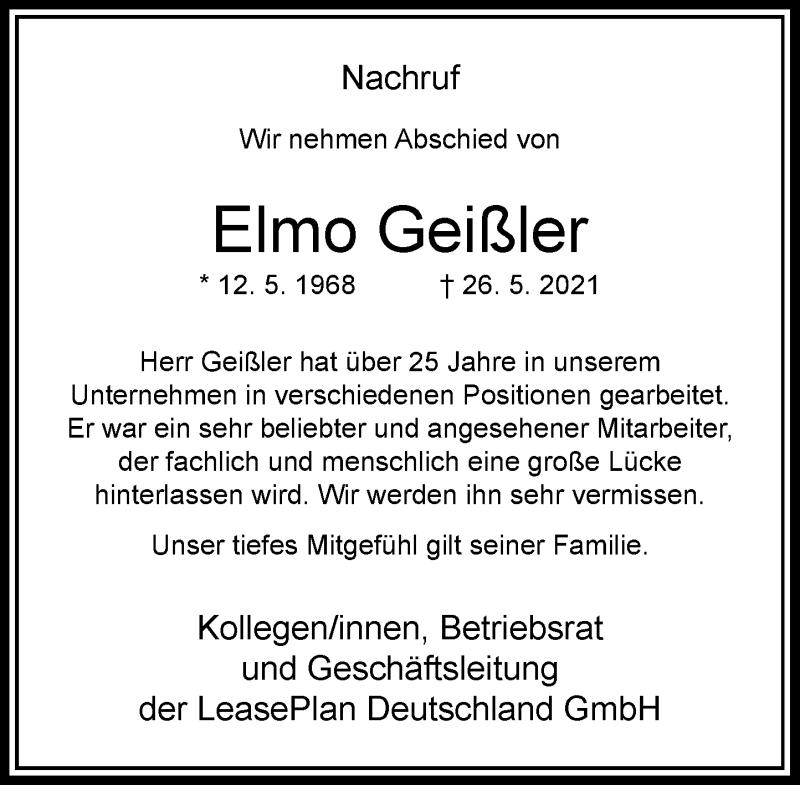 Traueranzeige für Elmo Geißler vom 05.06.2021 aus Rheinische Post
