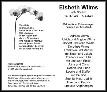 Traueranzeige von Elsbeth Wilms von Rheinische Post
