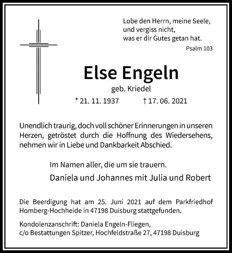 Traueranzeige für Else Engeln vom 26.06.2021 aus Rheinische Post
