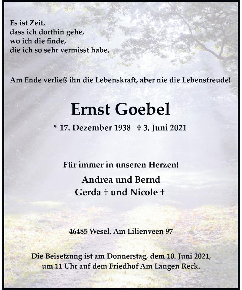 Traueranzeige für Ernst Goebel vom 08.06.2021 aus Rheinische Post