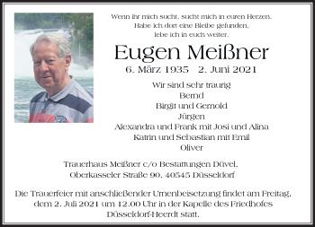 Traueranzeige von Eugen Meißner von Rheinische Post