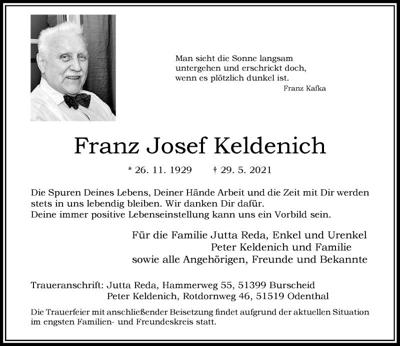 Traueranzeige für Franz Josef Keldenich vom 05.06.2021 aus Rheinische Post