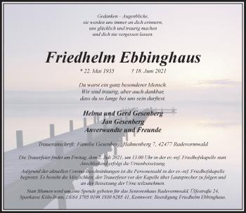 Traueranzeige von Friedhelm Ebbinghaus von Rheinische Post