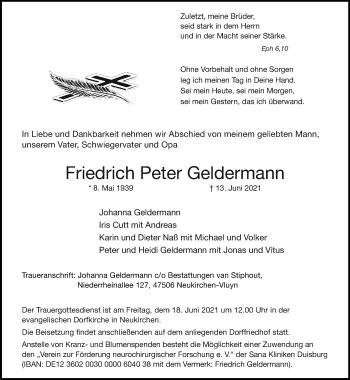 Traueranzeige von Friedrich Peter Geldermann von Rheinische Post