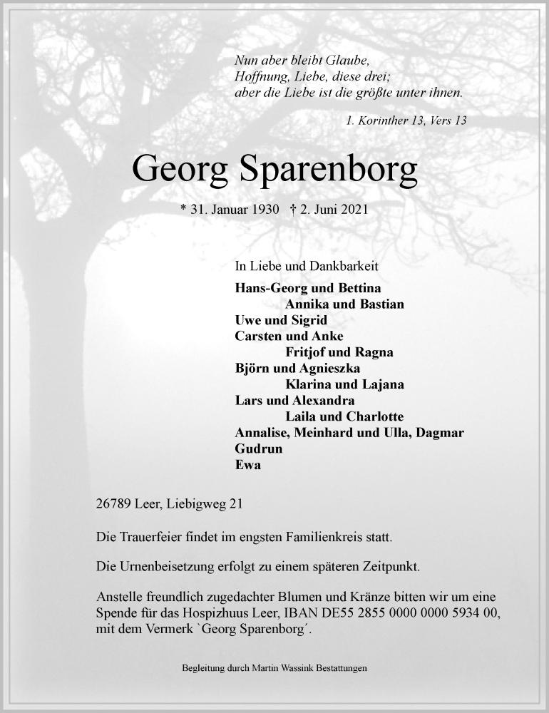Traueranzeige für Georg Sparenborg vom 05.06.2021 aus Rheinische Post