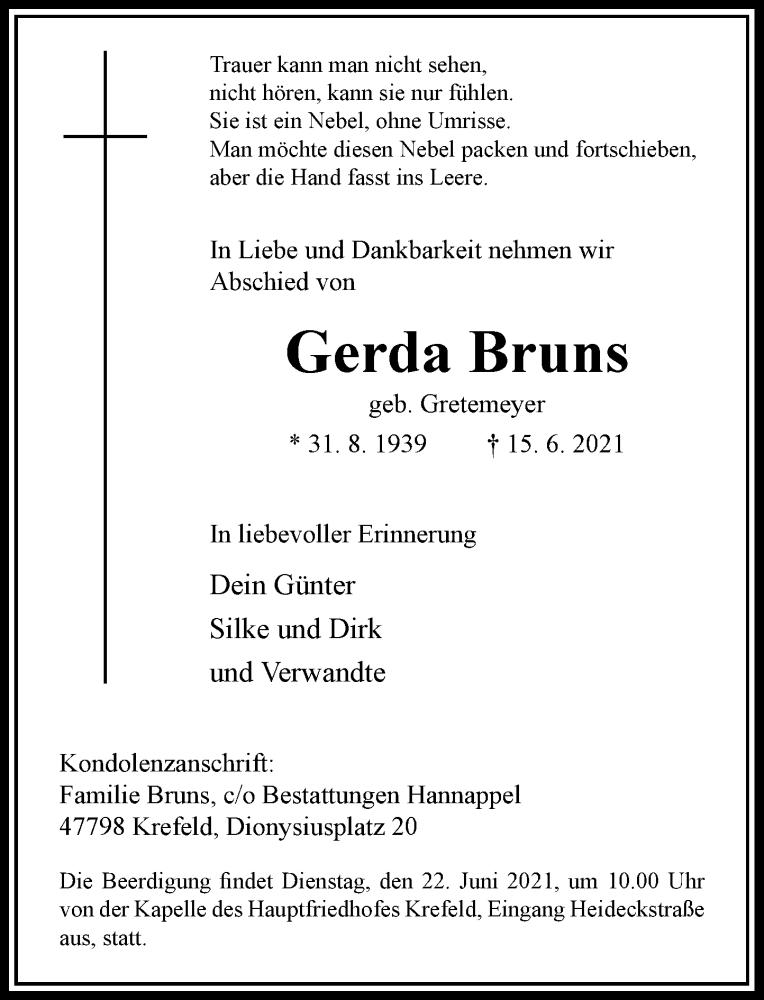 Traueranzeige für Gerda Bruns vom 19.06.2021 aus Rheinische Post
