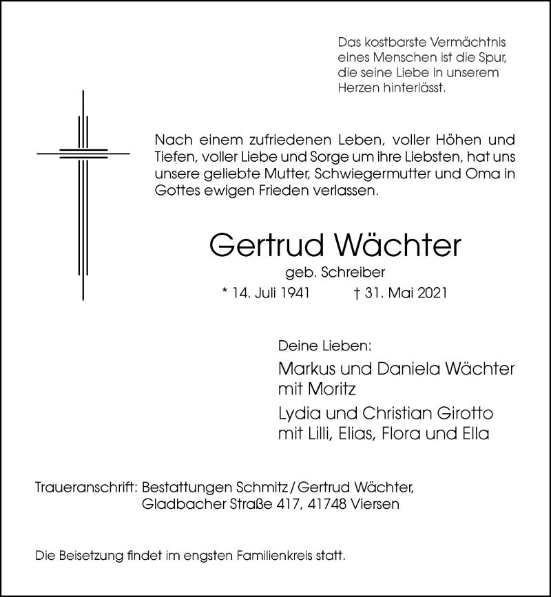 Traueranzeige für Gertrud Wächter vom 05.06.2021 aus Rheinische Post