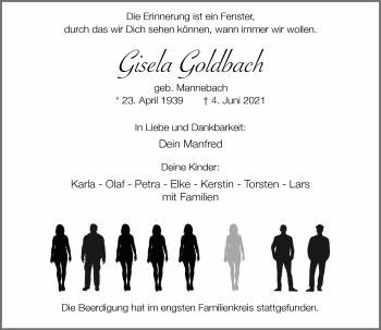 Traueranzeige von Gisela Goldbach von Rheinische Post