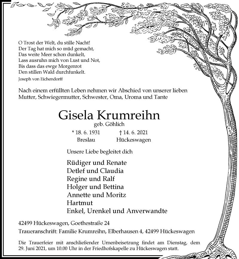 Traueranzeige für Gisela Krumreihn vom 24.06.2021 aus Rheinische Post