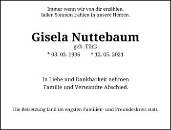 Traueranzeige von Gisela Nuttebaum von Rheinische Post